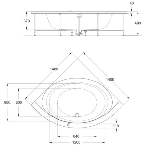 baignoire dangle 140 x 140 cm connect ideal standard - Baignoire Taille Standard