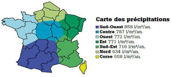 carte des précipitations en france selon les régions