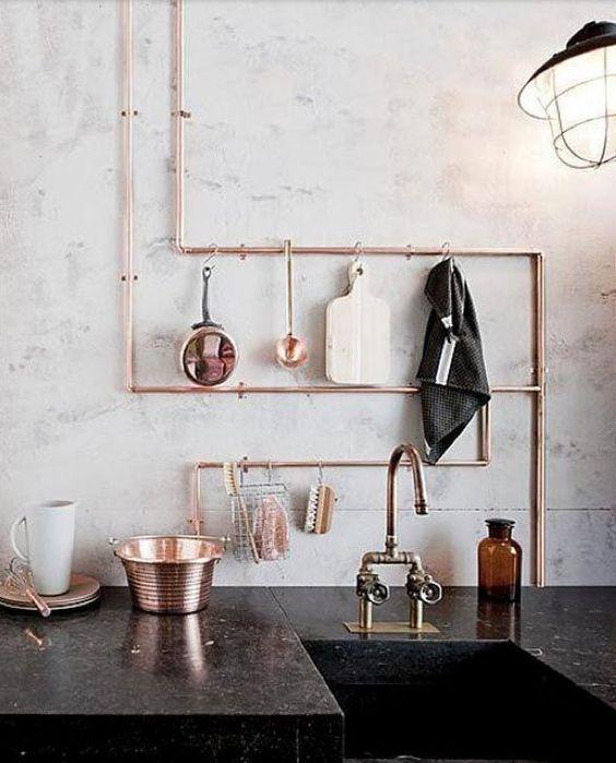 décoration tuyaux cuivre