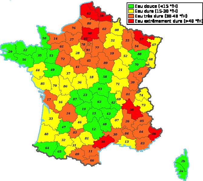 carte régions chauffe eau