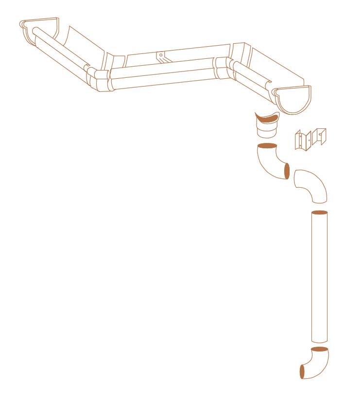 Schéma d'une gouttière aluminium demi-ronde