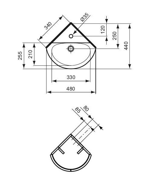lave mains d 39 angle connect arc 34 x 44 cm ideal standard lave mains lavabos et vasques. Black Bedroom Furniture Sets. Home Design Ideas