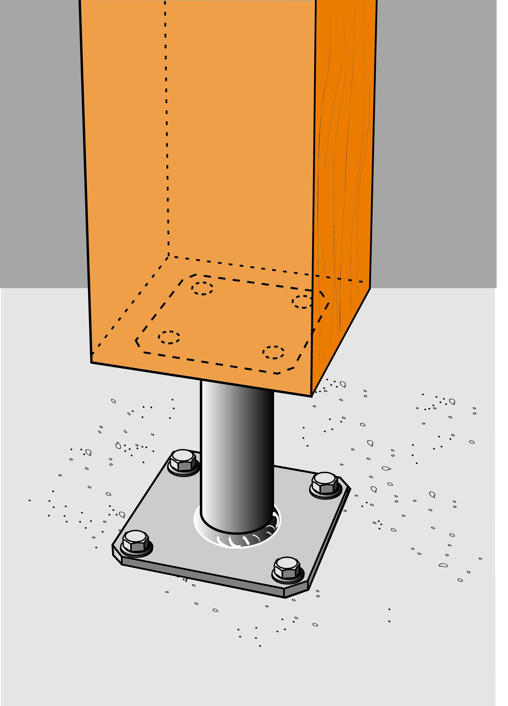pieds de poteau fixes dimensions au choix pieds de poteaux connexions pour assemblage des. Black Bedroom Furniture Sets. Home Design Ideas