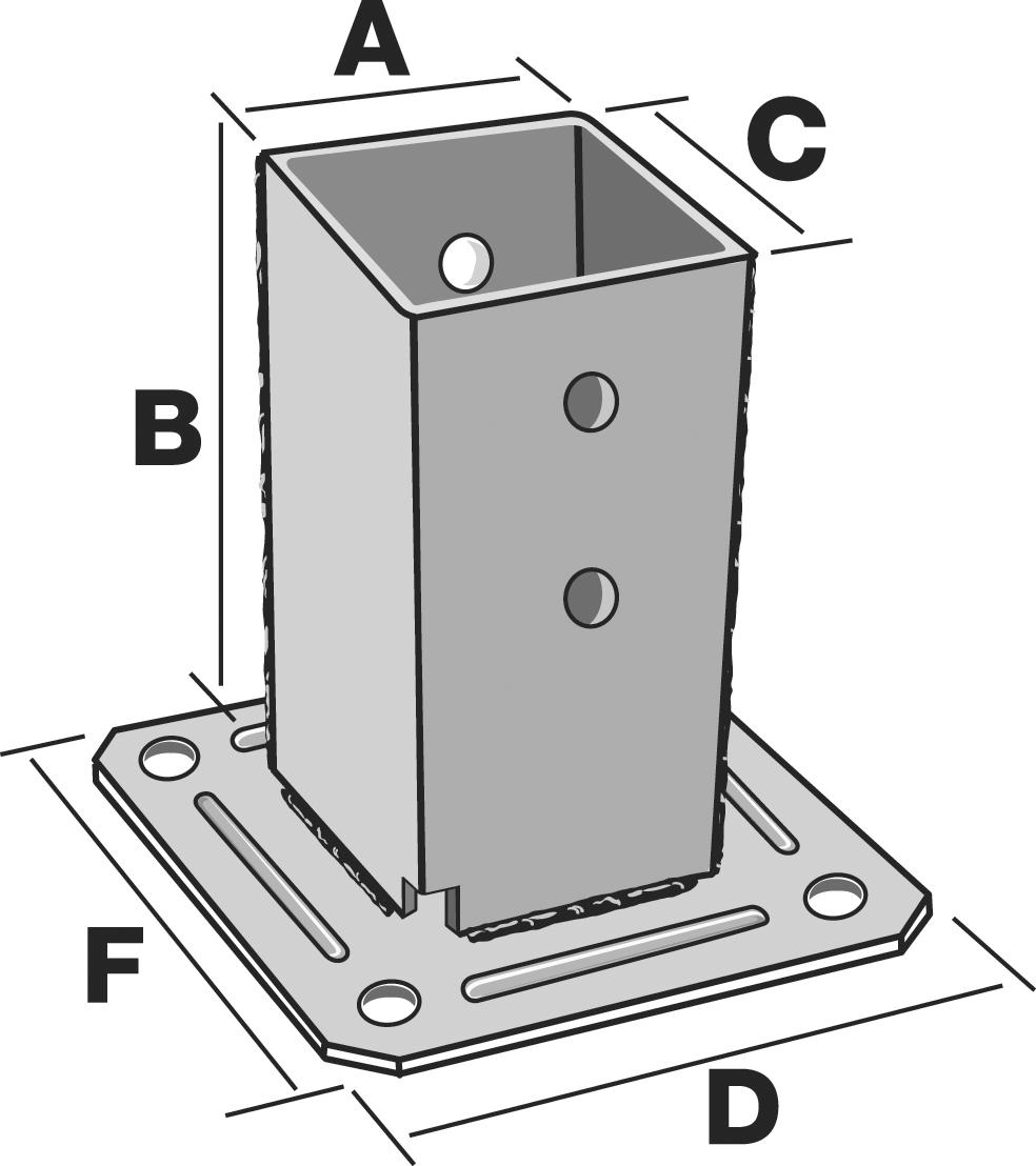 Pieds de poteau carr sur platine dimensions au choix for Carre de jardin en bois sur pied