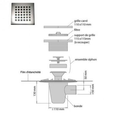 Kit pour douche italienne isotanche classic diam tre 50 - Kit douche a l italienne ...
