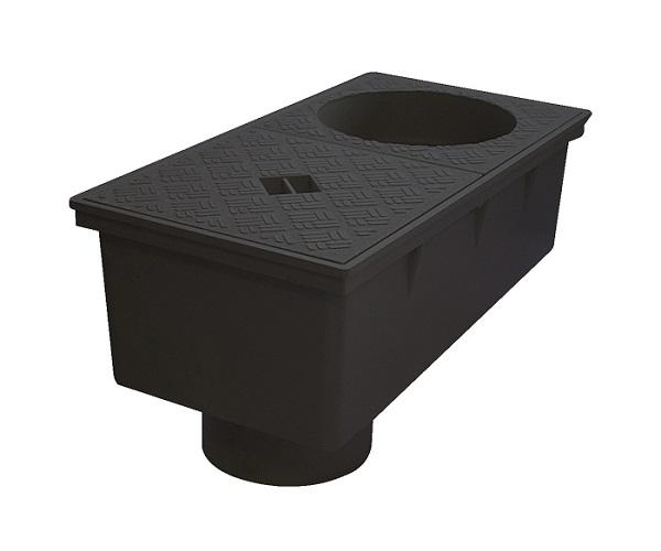 regard de descente pour eaux pluviales sortie verticale 110 mm noir goutti re pvc corniche. Black Bedroom Furniture Sets. Home Design Ideas