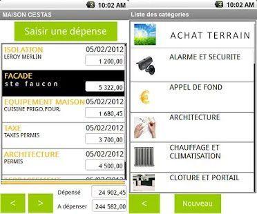 Appli mobile gérer les dépenses des travaux