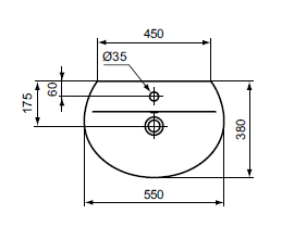 Dimensions lavabo Sphère Connect Ideal Standard
